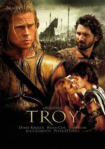 2004年拍摄的云集了比拉德・皮特、奥兰多・布鲁姆等大咖的好莱坞电影《特洛伊》海报,啊,好怀念男神们正是青春的时代