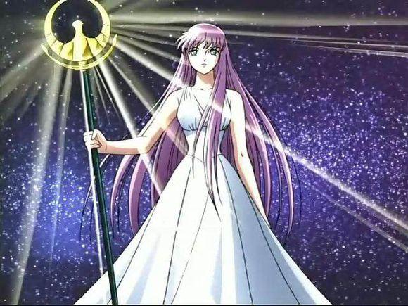日本动漫《圣斗士星矢》中的雅典娜形象,读书君承认,她是对80后影响较深的一个希腊女神有木有!