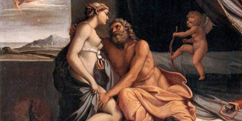 油画中的宙斯与妻子赫拉