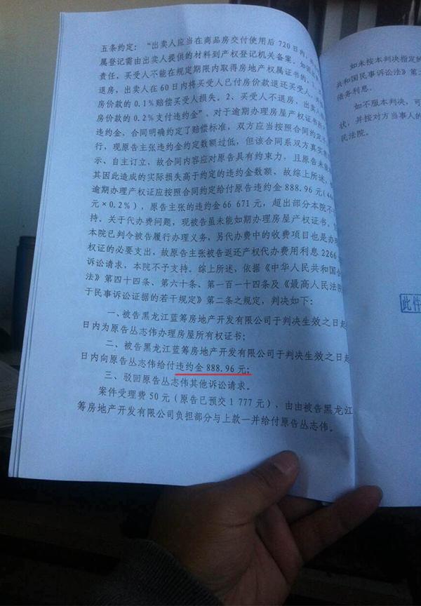 丛志伟收到的纸质判决书。