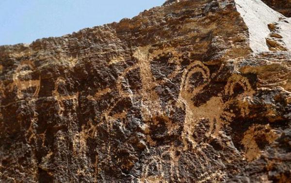 原文配图:图中的岩石上画着长有弯角的野山羊。
