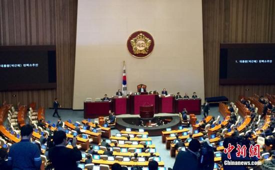 本地时刻12月9日,韩国国会表决经过对总统朴槿惠的弹劾动方案。这是韩国宪政史上第二个获国会经过的总统弹劾案。弹劾案将上交给宪法法院审理,审理进程最长可达6个月。在此时间,朴槿惠被停息总统职权,由国务总理代行。图为国会投票现场。中新社记者 吴旭 摄