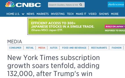 """看过这条消息,事实就清楚了:《纽约时报》11月8日-26日间的付费订阅用户净增约13.2万。这一增加量是去年同期增加量的十倍。因此,""""《纽约时报》订阅用户增长了10倍以上""""显然是翻译错误。而""""《纽约时报》大选后订阅增速加快十倍""""的说法也不准确,应是订阅增量是去年同期增量的十倍,而且仅仅是增量问题,与增速无关。此事给大家提了一个醒,国外新闻中译时要特别注意数字翻译的准确性。"""