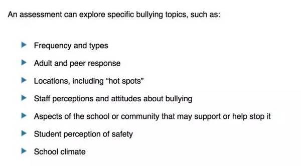 上图:美国学校会做非常详实的针对各个方面的校园霸凌情况调查