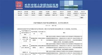 武汉市国土资源和规划局网站上公布的《不动产权属证书/不动产登记证明作废公告》。