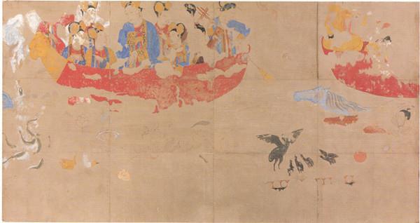 撒马尔罕大使厅壁画北墙,武则天乘龙舟