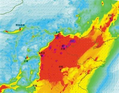 12月18日PM2.5污染形势图。