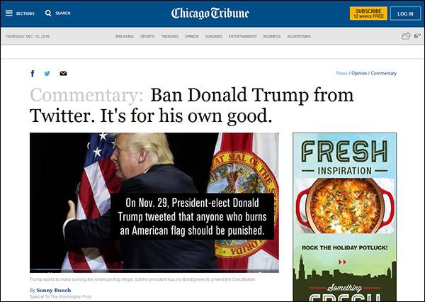 """《芝加哥论坛报》此前同样建议推特,""""为了自己好"""",封禁特朗普"""