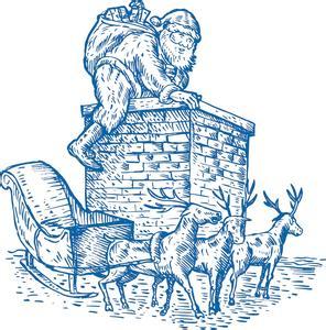 钻烟囱的西欧圣诞老人图片