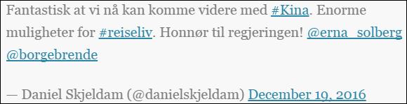 中挪关系恢复正常化之后,挪威航运旅游业的巨头Hurtigruten公司的首席执行官Daniel Skjeldam在twitter上难掩喜悦之情,他能代表挪威商界对中挪关系正常化的积极态度
