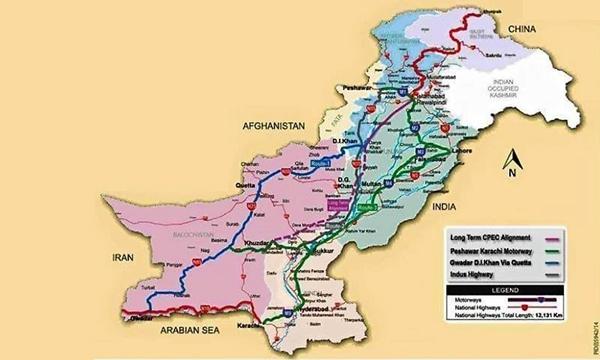 蓝色为俾路支和开伯尔-普赫图赫瓦线 绿色为旁遮普线