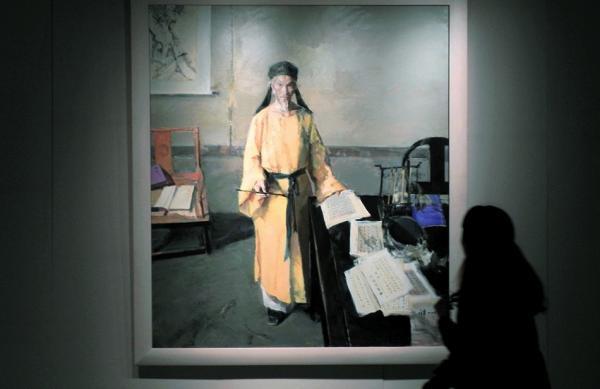 油画作品《经世致用-明末大儒黄宗羲》 。视觉中国 资料