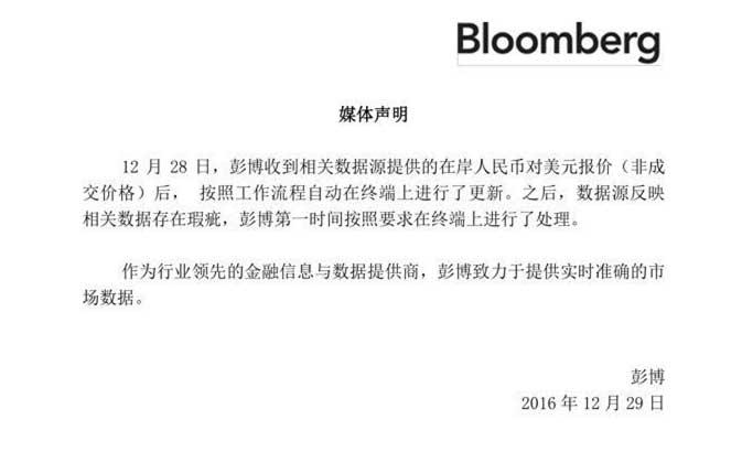 彭博在今天中午发布声明表示,彭博在28日收到相关数据源提供的在岸人民币对美元报价后,自动在彭博终端上进行数据更新,此后数据源反映相关数据存在瑕疵。最终导致存在瑕疵的数据被多家媒体引用。(央视记者 宋亮)