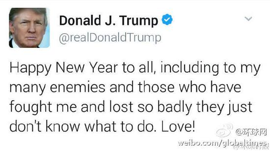 特朗普发推特送新年祝福:包括那些惨败给我的人
