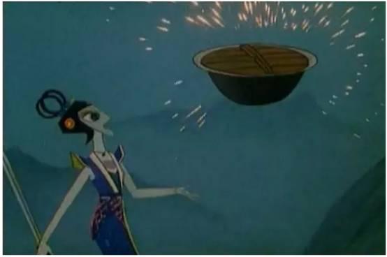 """青蛇为了对付四弟火娃,采用激将法对火娃说:""""你能将这锅饭煮熟我就缴械投降。""""天真的火娃便真的使出了浑身的力气用火去烧浮在空中的这口大锅。"""