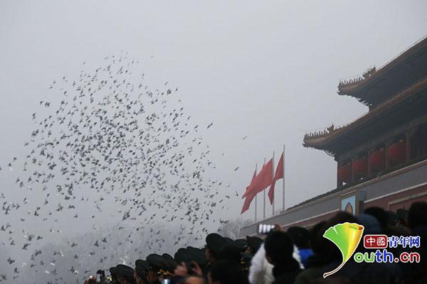 升旗仪式结束后,和平鸽在数万群众的注视中飞过天安门城楼。