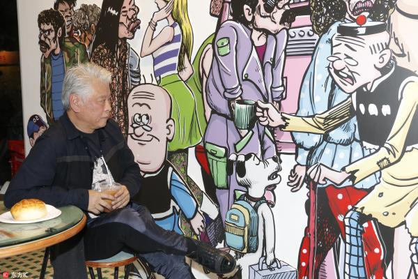 图为2015年12月3日,香港,《老夫子》作者王泽个人展。 东方IC 资料