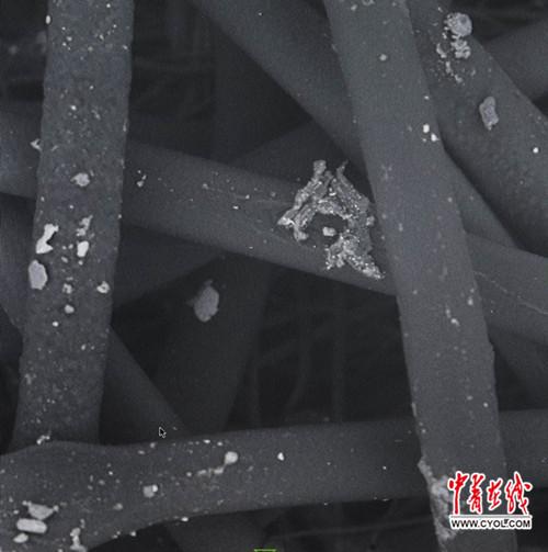 通过扫描电子显微镜放大2000倍左右,能清晰地看到附着在滤芯材料纤维上的微米级大小的雾霾颗粒。中国青年报・中青在线记者 陈剑/摄