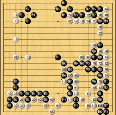 执黑的周俊勋用了模仿棋战术,同样失败