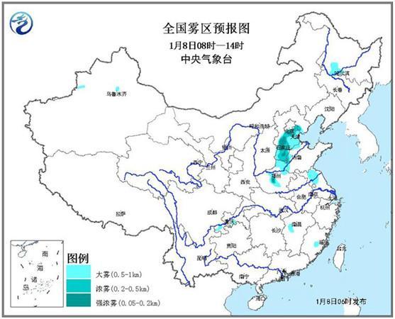 大雾黄色预警:今晨至上午京津冀等5省市有大雾
