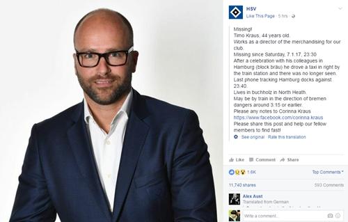 汉堡销售总监突然失踪 俱乐部脸书发布寻人启事