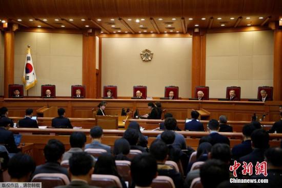 当地时间2017年1月3日,韩国首尔,宪法法院开审朴槿惠弹劾案。9名宪法法院大法官出席弹劾审判。韩国国会12月9日下午通过了对总统朴槿惠的弹劾。