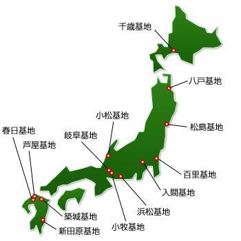 网络统计的航空自卫队起飞军机地点。