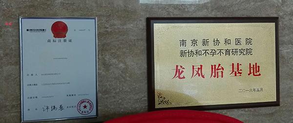 """位于南京新协和医院大厅的""""南京新协和医院龙凤胎基地""""商标。"""