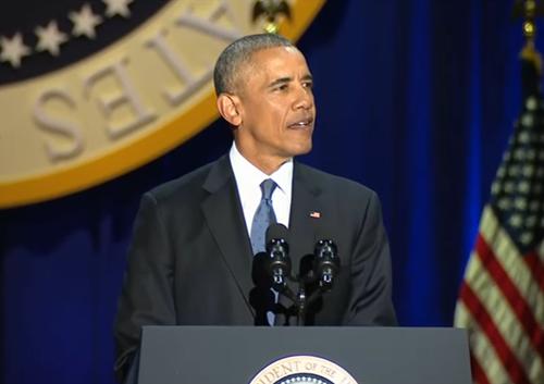 奥巴马在芝加哥揭晓辞别演讲
