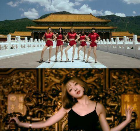 女子组合在紫禁城门口跳艳舞