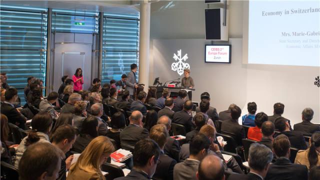 这是2016年5月20日在瑞士苏黎世拍摄的中欧国际工商学院第二届欧洲论坛现场。新华社记者 徐金泉