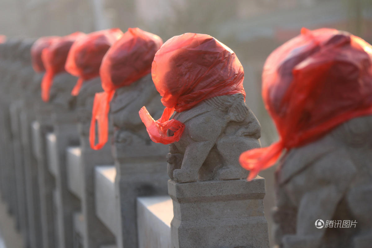 """2016年11月24日,这些""""花大嫂""""出现在河南安阳内黄县一座桥上。据了解,这可能是当地的结婚风俗,婚车途经之地,给狮子套上红色物品,可以辟邪,讨个吉利。"""