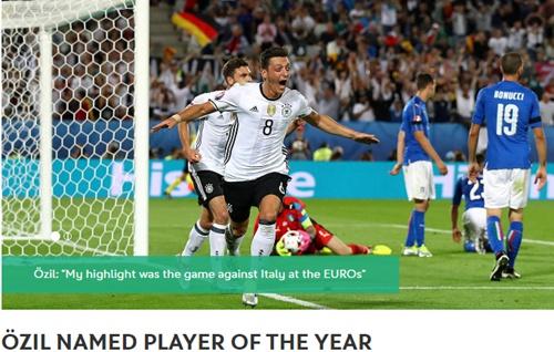 厄齐尔获评德国队年度最佳球员 6年内第5次当选