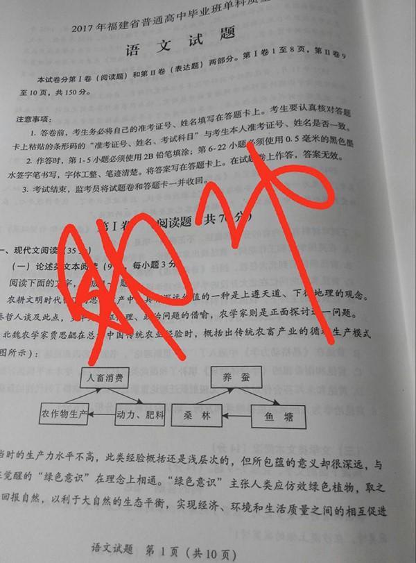 """16日清晨,福建质检语文开考前7个小时,已有""""试题""""在舞弊群里呈现。"""