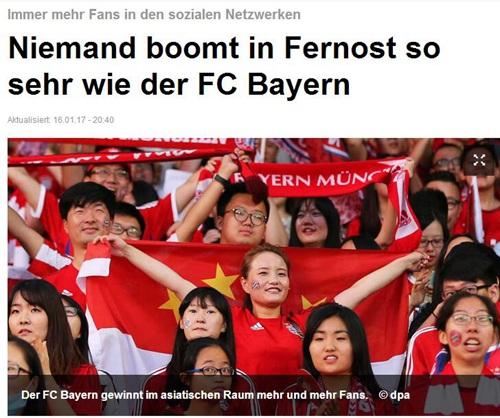 慕尼黑日报:拜仁在华人气超高 酝酿今夏中国行
