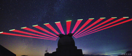"""图为兴隆站跟踪""""墨子号""""量子科学实验卫星的实景拍摄。"""