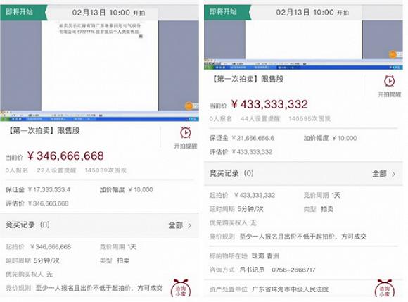 根据网络拍卖的页面显示,吴长江所持1.3亿股德豪润达(002005. SZ)限售股将被分作两个拍卖标的,按每股6元定价,起拍价分别为4.33亿元和3.47亿元共计7.8亿元人民币。