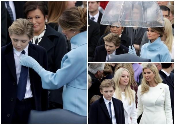 老爸作为美国总统签下第一份文件的历史时刻,巴伦在后面……逗小孩。