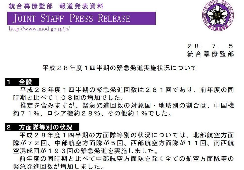 日本防卫省统合幕僚监部网站公布的报告截图