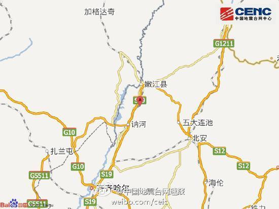黑龙江嫩江县发生3.0级地震 震源深度2千米