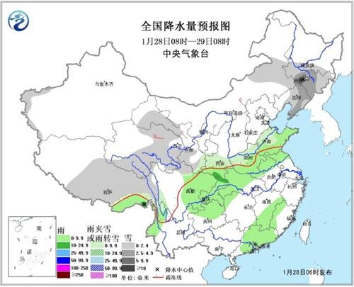 初一夜间至初二东北、黄淮、江淮等地有降水