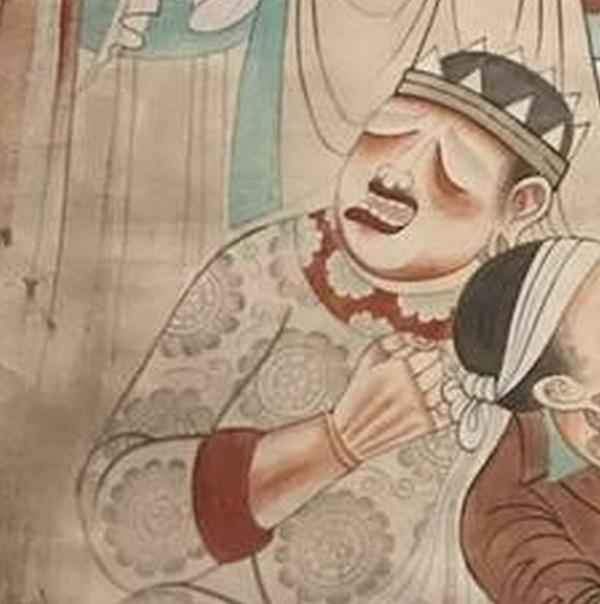 敦煌壁画《各国王子举哀图》就有佛涅��时各族王子极度悲痛捶胸的表现。