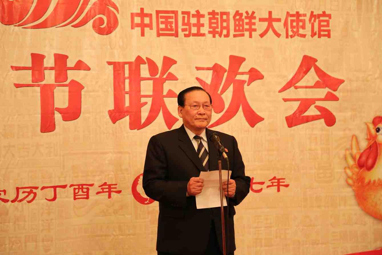 朝鲜最高人民会议常任委员会副委员长金英大发表新春贺词。来源:中国驻朝鲜大使馆网站