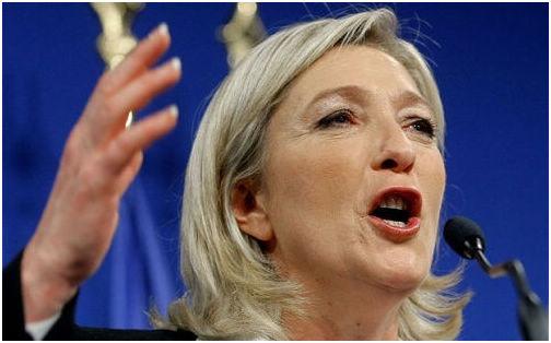 """法国极右翼政党""""国民阵线""""主席玛丽娜•勒庞正在冲击法国总统宝座"""