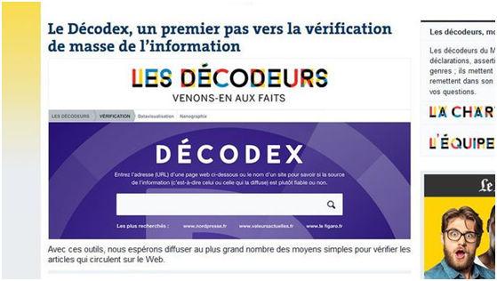 法国媒体组建的Décodex反谣言平台 图片来源:法国《快报》