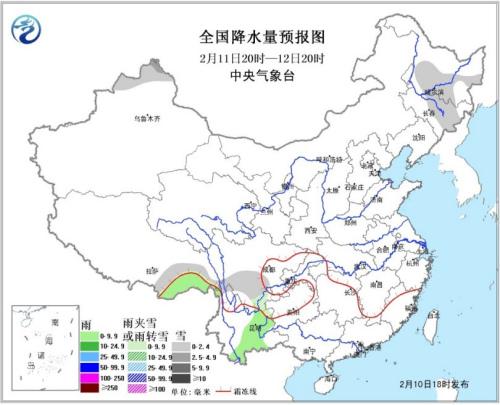 天下降水量预告图(11日20时-12日20时)。