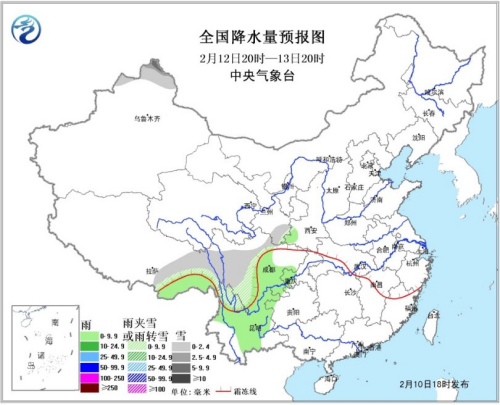 天下降水量预告图(12日20时-13日20时)。地方气候台网站
