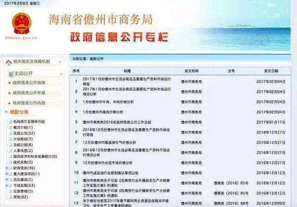 海南儋州市商务局网站页面。