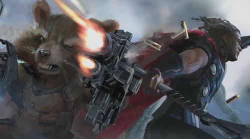 火箭浣熊与雷神并肩作战