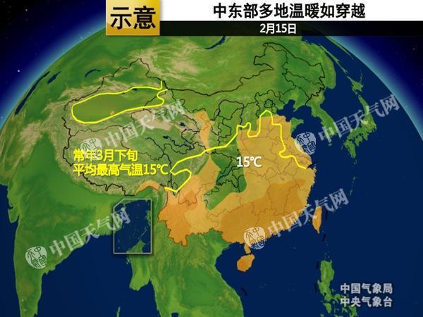 不过,今天起冷空气的到来将打乱南、北方气温回升的步调。其中,长江以北地区平均气温将下降4~8℃,内蒙古和东北的部分地区下降幅度达10℃以上。降温之后,东北一带的气温将回归正常甚至偏低水平。而江南气温虽有波动,并不影响偏暖的大格局。18日早晨,最低气温0℃线将由目前的华北南部移到淮河流域至秦岭一带。